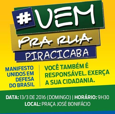 Simespi participa do manifesto Vem pra rua Piracicaba